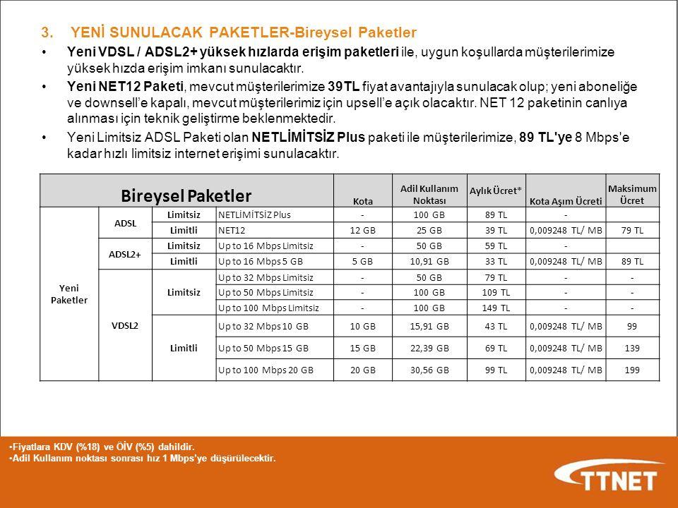 Yeni VDSL / ADSL2+ yüksek hızlarda erişim paketleri ile, uygun koşullarda müşterilerimize yüksek hızda erişim imkanı sunulacaktır. Yeni NET12 Paketi,