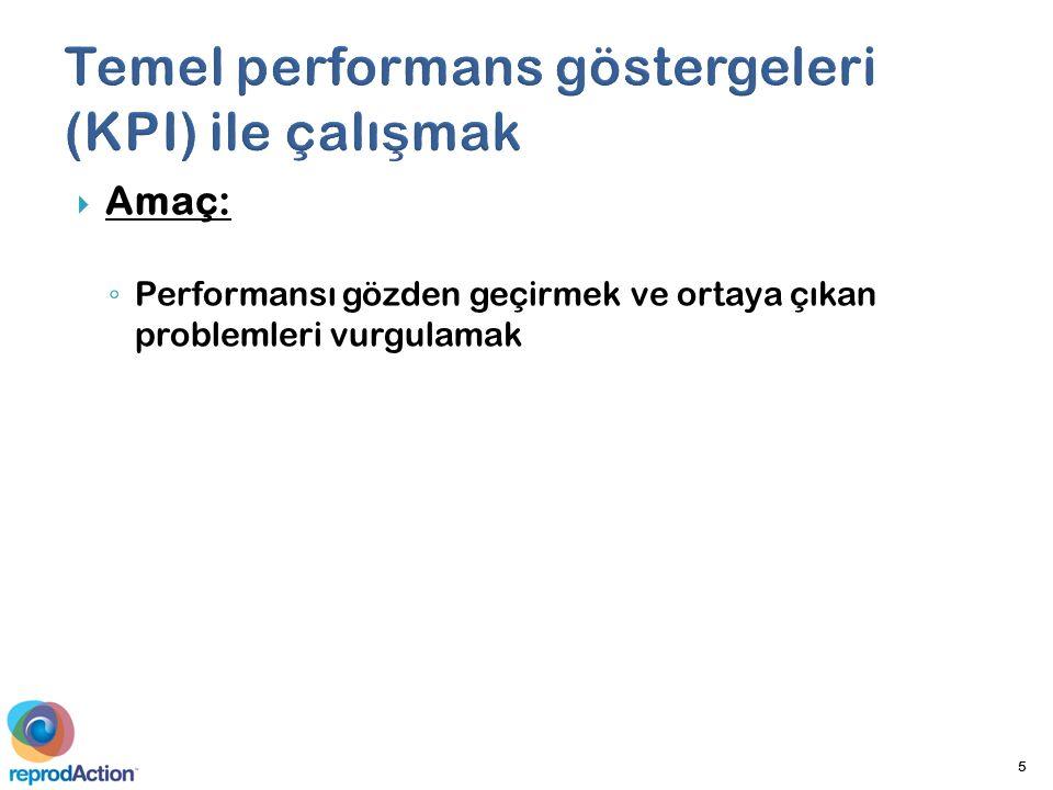  Amaç: ◦ Performansı gözden geçirmek ve ortaya çıkan problemleri vurgulamak 5