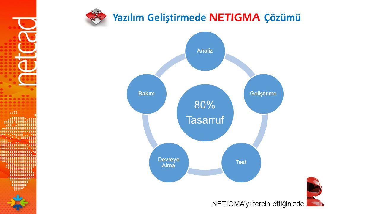 Yazılım Geliştirmede NETIGMA Çözümü 80% Tasarruf AnalizGeliştirimeTest Devreye Alma Bakım NETIGMA'yı tercih ettiğinizde