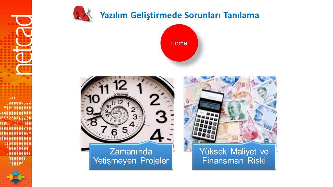 Zamanında Yetişmeyen Projeler Yüksek Maliyet ve Finansman Riski Yazılım Geliştirmede Sorunları Tanılama Firma