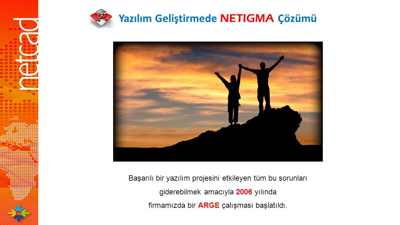 Yazılım Geliştirmede NETIGMA Çözümü Başarılı bir yazılım projesini etkileyen tüm bu sorunları giderebilmek amacıyla 2006 yılında firmamızda bir ARGE ç