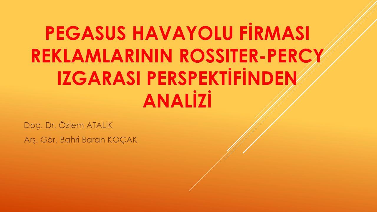 PEGASUS HAVAYOLU FİRMASI REKLAMLARININ ROSSITER-PERCY IZGARASI PERSPEKTİFİNDEN ANALİZİ Doç.