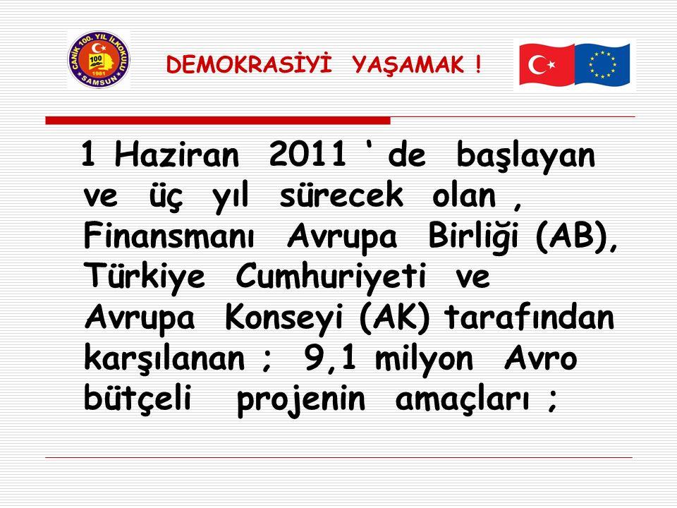 1 Haziran 2011 ' de başlayan ve üç yıl sürecek olan, Finansmanı Avrupa Birliği (AB), Türkiye Cumhuriyeti ve Avrupa Konseyi (AK) tarafından karşılanan