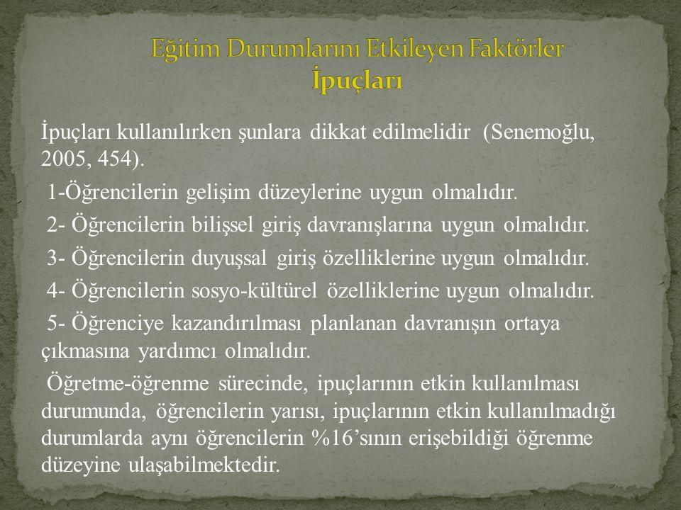 İpuçları kullanılırken şunlara dikkat edilmelidir (Senemoğlu, 2005, 454). 1-Öğrencilerin gelişim düzeylerine uygun olmalıdır. 2- Öğrencilerin bilişsel