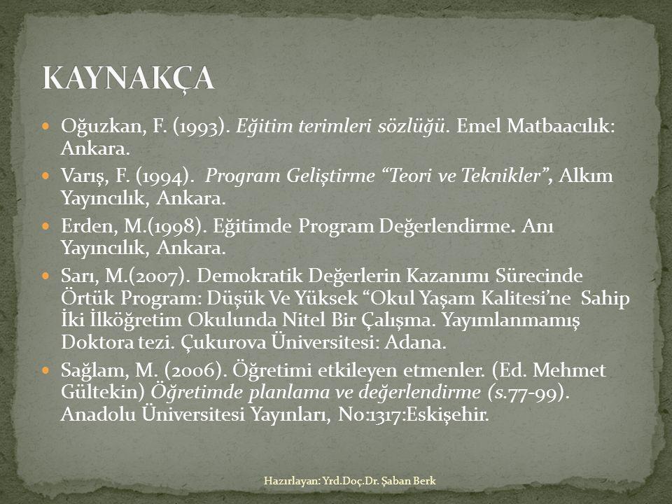 """Oğuzkan, F. (1993). Eğitim terimleri sözlüğü. Emel Matbaacılık: Ankara. Varış, F. (1994). Program Geliştirme """"Teori ve Teknikler"""", Alkım Yayıncılık, A"""