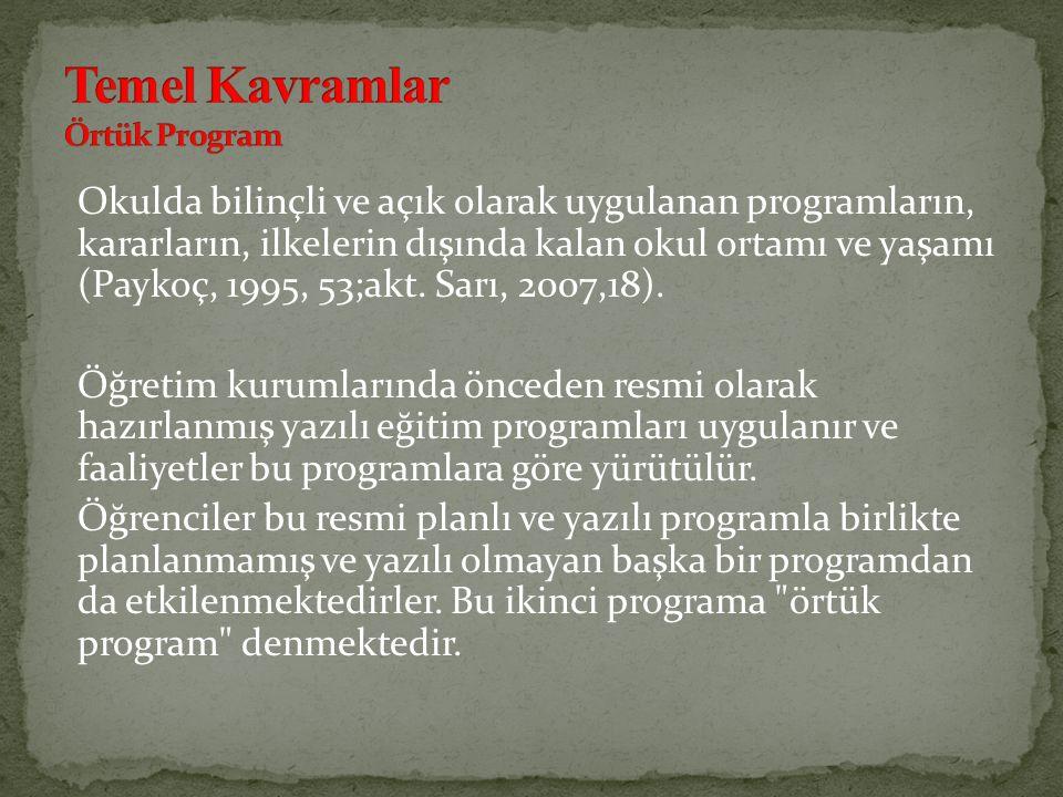 Okulda bilinçli ve açık olarak uygulanan programların, kararların, ilkelerin dışında kalan okul ortamı ve yaşamı (Paykoç, 1995, 53;akt. Sarı, 2007,18)