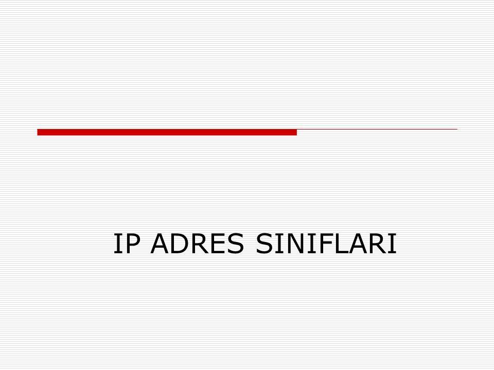 IP ADRES SINIFLARI