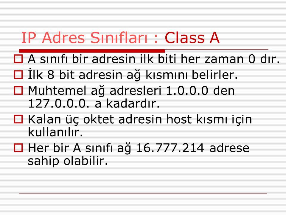  A sınıfı bir adresin ilk biti her zaman 0 dır.  İlk 8 bit adresin ağ kısmını belirler.  Muhtemel ağ adresleri 1.0.0.0 den 127.0.0.0. a kadardır. 