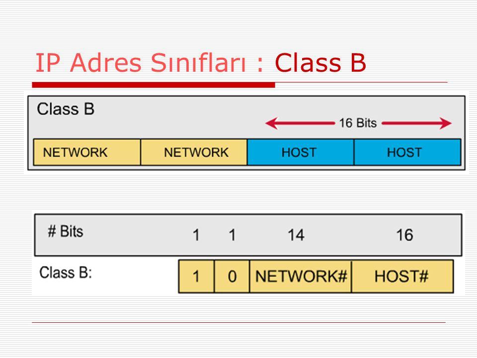 IP Adres Sınıfları : Class B