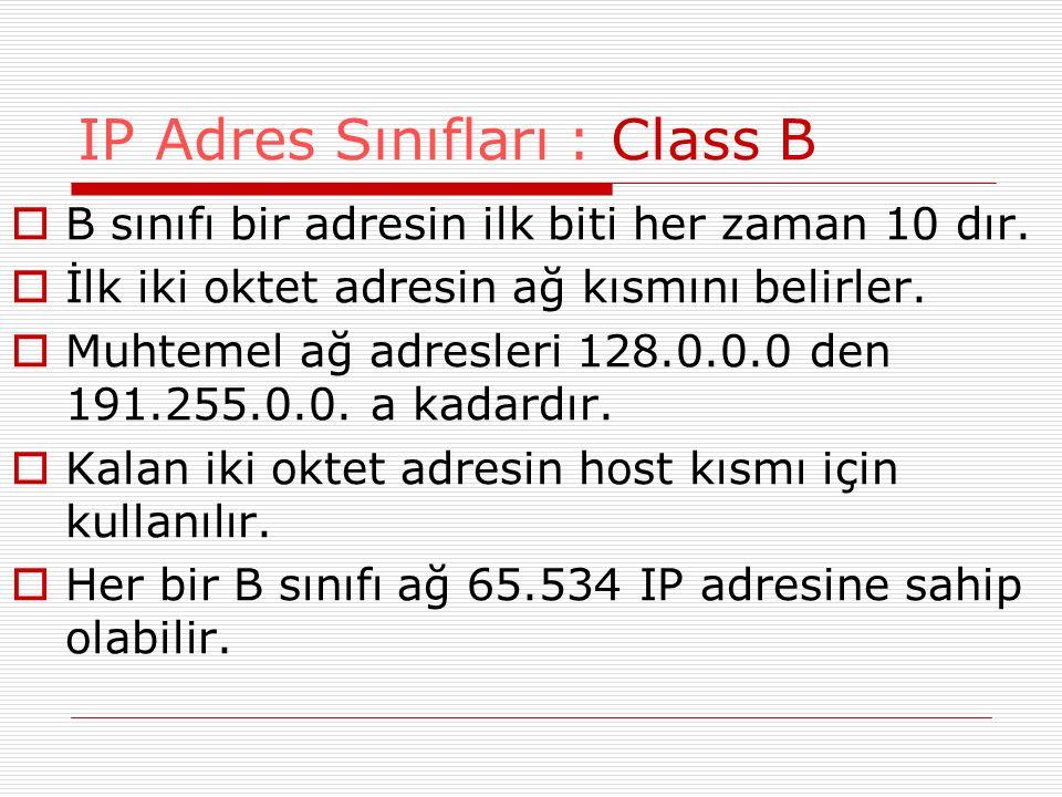  B sınıfı bir adresin ilk biti her zaman 10 dır.  İlk iki oktet adresin ağ kısmını belirler.  Muhtemel ağ adresleri 128.0.0.0 den 191.255.0.0. a ka