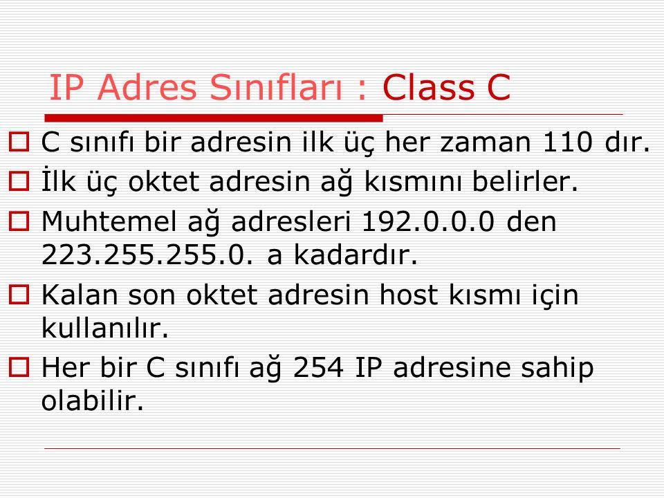  C sınıfı bir adresin ilk üç her zaman 110 dır.  İlk üç oktet adresin ağ kısmını belirler.  Muhtemel ağ adresleri 192.0.0.0 den 223.255.255.0. a ka