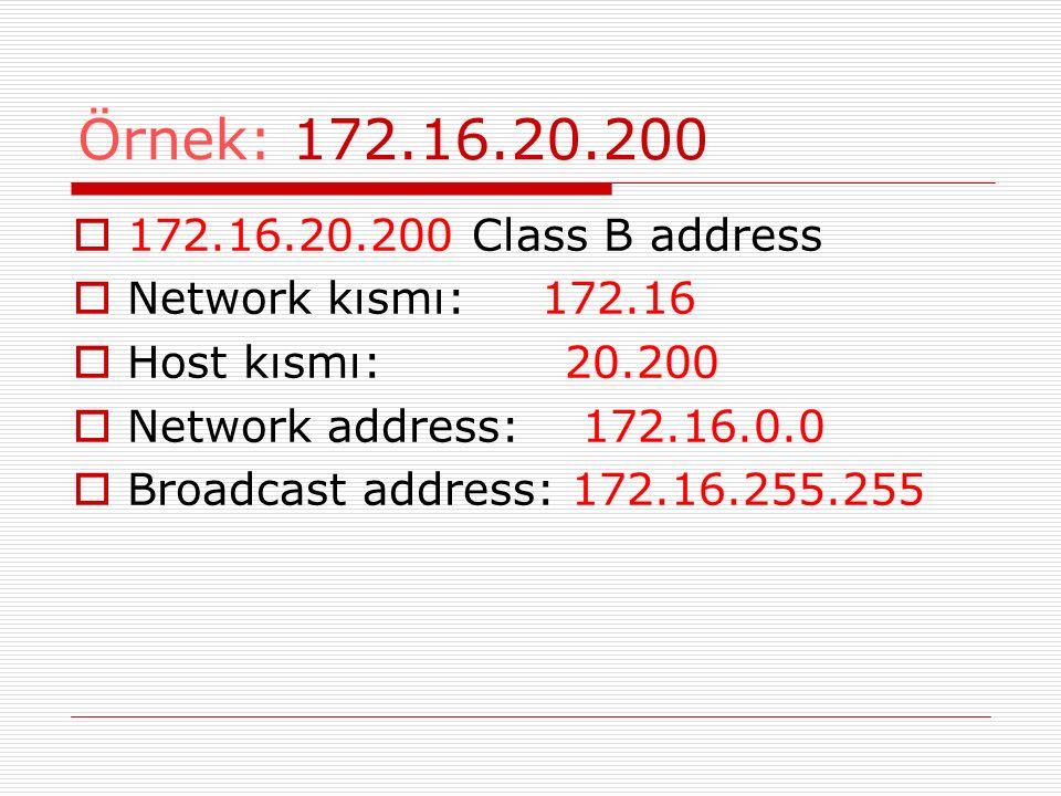 Örnek: 172.16.20.200  172.16.20.200 Class B address  Network kısmı: 172.16  Host kısmı: 20.200  Network address: 172.16.0.0  Broadcast address: 1