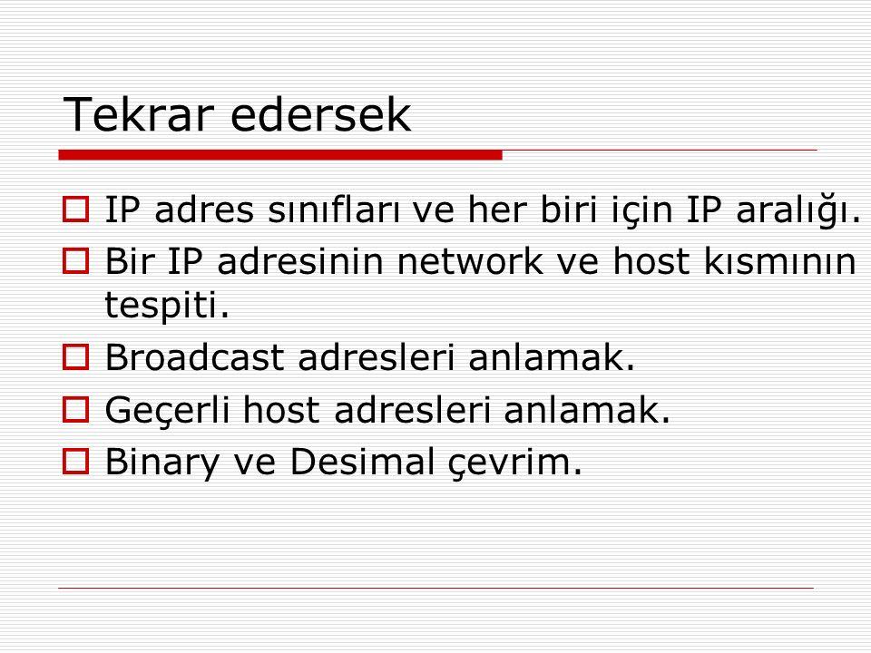 Tekrar edersek  IP adres sınıfları ve her biri için IP aralığı.  Bir IP adresinin network ve host kısmının tespiti.  Broadcast adresleri anlamak. 