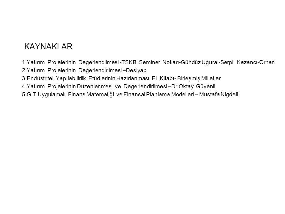 KAYNAKLAR 1.Yatırım Projelerinin Değerlendilmesi -TSKB Seminer Notları-Gündüz Uğural-Serpil Kazancı-Orhan 2.Yatırım Projelerinin Değerlendirilmesi –De