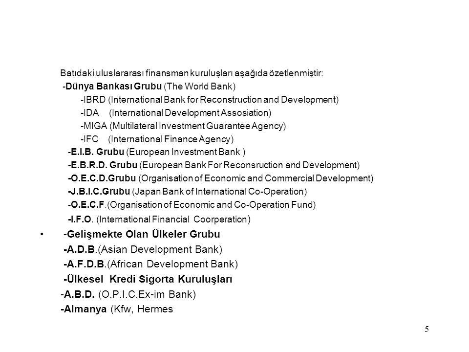 5 Batıdaki uluslararası finansman kuruluşları aşağıda özetlenmiştir: -Dünya Bankası Grubu (The World Bank) -IBRD (International Bank for Reconstructio