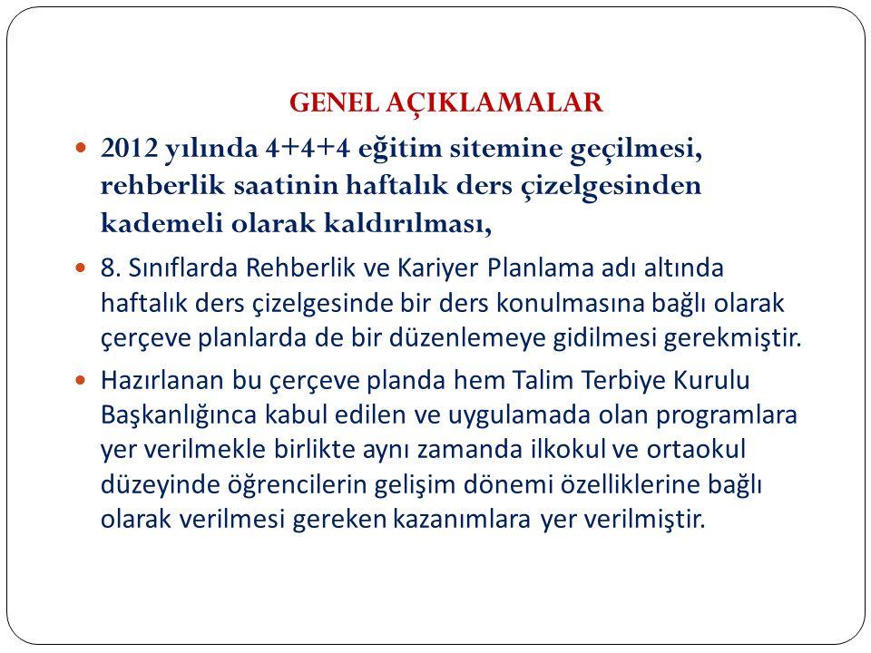 GENEL AÇIKLAMALAR 2012 yılında 4+4+4 e ğ itim sitemine geçilmesi, rehberlik saatinin haftalık ders çizelgesinden kademeli olarak kaldırılması, 8. Sını