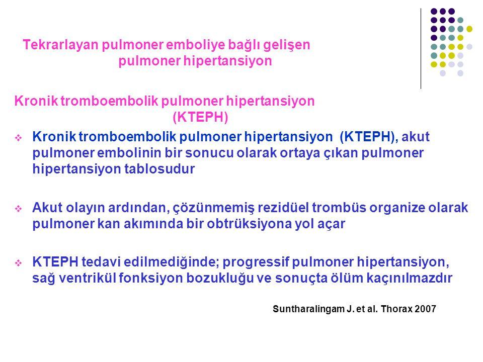 Tekrarlayan pulmoner emboliye bağlı gelişen pulmoner hipertansiyon Kronik tromboembolik pulmoner hipertansiyon (KTEPH)  Kronik tromboembolik pulmoner