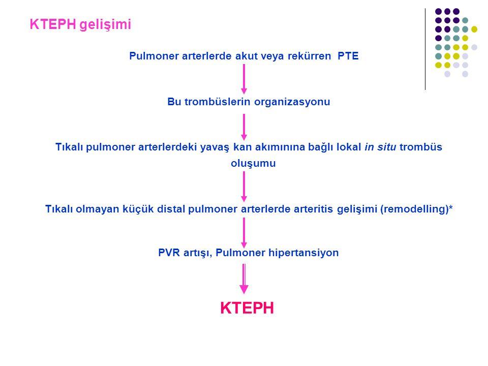 KTEPH gelişimi Pulmoner arterlerde akut veya rekürren PTE Bu trombüslerin organizasyonu Tıkalı pulmoner arterlerdeki yavaş kan akımınına bağlı lokal i