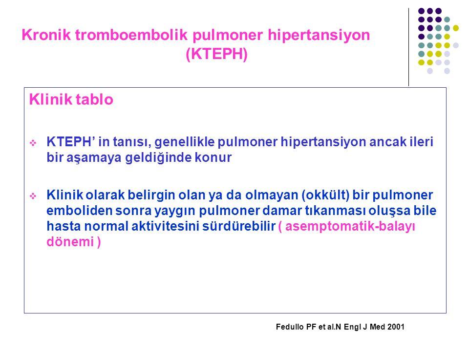Kronik tromboembolik pulmoner hipertansiyon (KTEPH) Klinik tablo  KTEPH' in tanısı, genellikle pulmoner hipertansiyon ancak ileri bir aşamaya geldiği