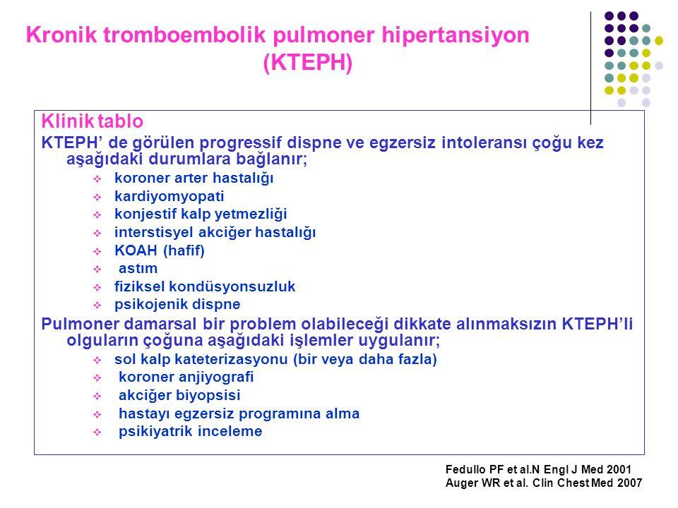 Kronik tromboembolik pulmoner hipertansiyon (KTEPH) Klinik tablo KTEPH' de görülen progressif dispne ve egzersiz intoleransı çoğu kez aşağıdaki duruml