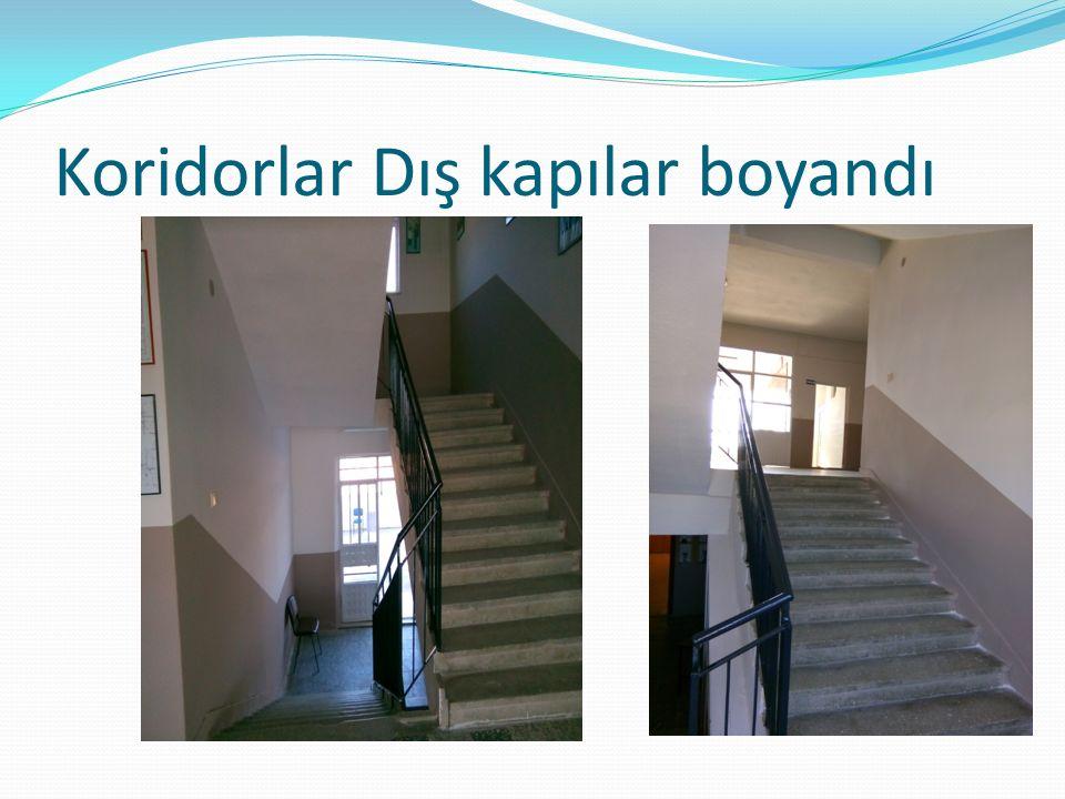 Koridorlar Dış kapılar boyandı