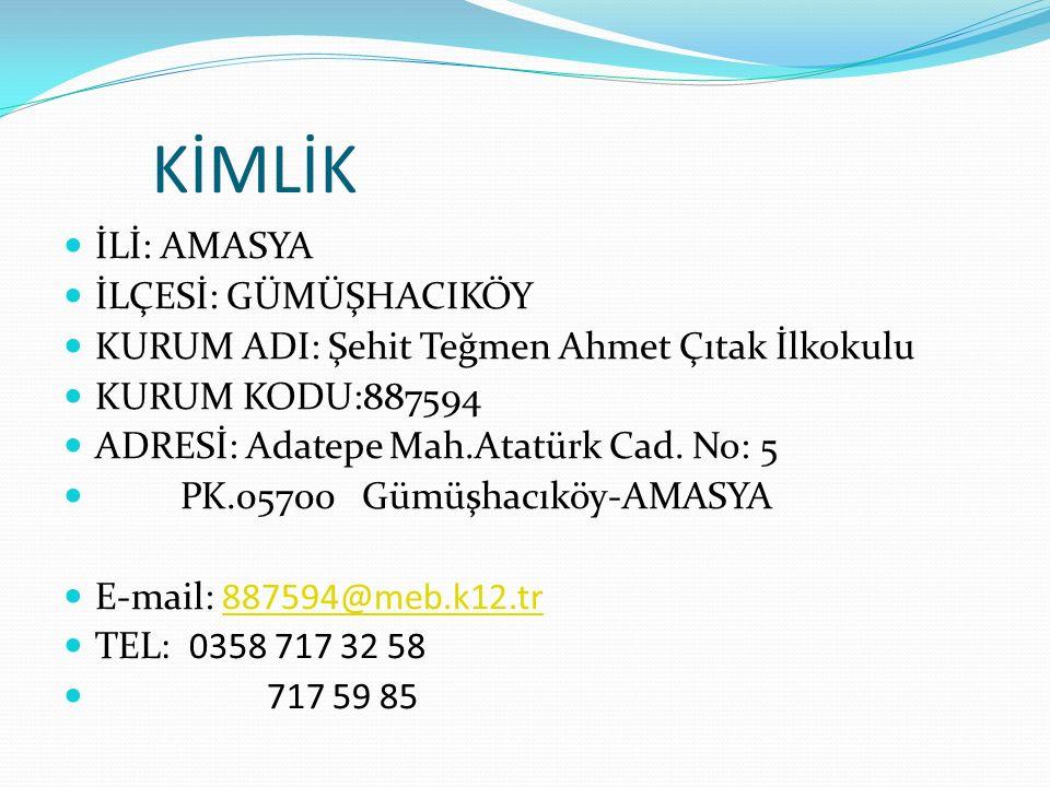 KİMLİK İLİ: AMASYA İLÇESİ: GÜMÜŞHACIKÖY KURUM ADI: Şehit Teğmen Ahmet Çıtak İlkokulu KURUM KODU:887594 ADRESİ: Adatepe Mah.Atatürk Cad.