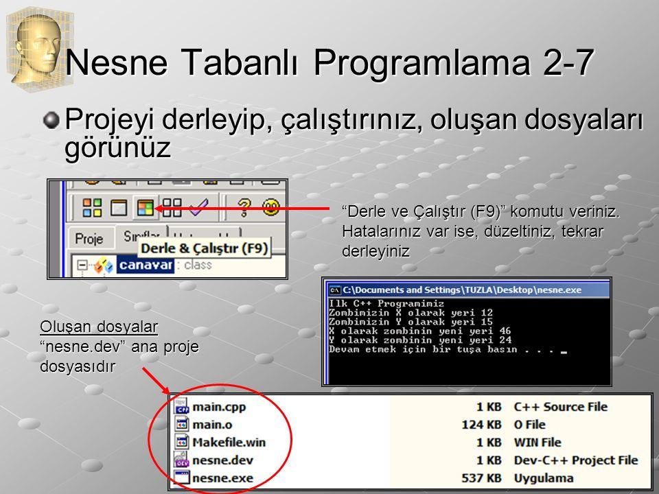 Nesne Tabanlı Programlama 2-7 Projeyi derleyip, çalıştırınız, oluşan dosyaları görünüz Derle ve Çalıştır (F9) komutu veriniz.