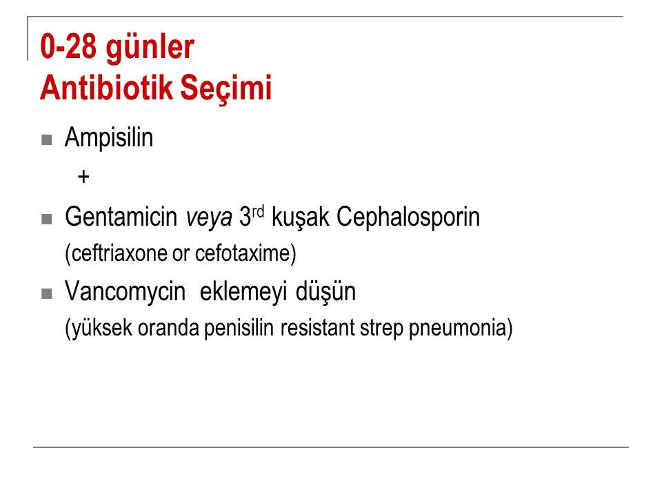 0-28 günler Antibiotik Seçimi Ampisilin + Gentamicin veya 3 rd kuşak Cephalosporin (ceftriaxone or cefotaxime) Vancomycin eklemeyi düşün (yüksek orand