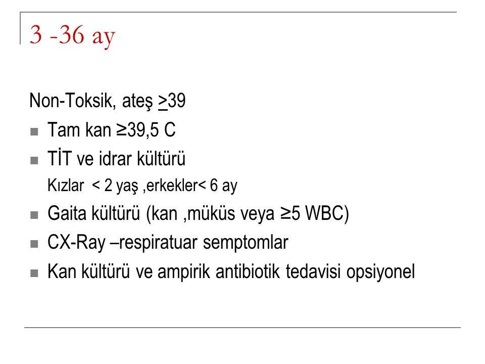 3 -36 ay Non-Toksik, ateş >39 Tam kan ≥39,5 C TİT ve idrar kültürü Kızlar < 2 yaş,erkekler< 6 ay Gaita kültürü (kan,müküs veya ≥5 WBC) CX-Ray –respira
