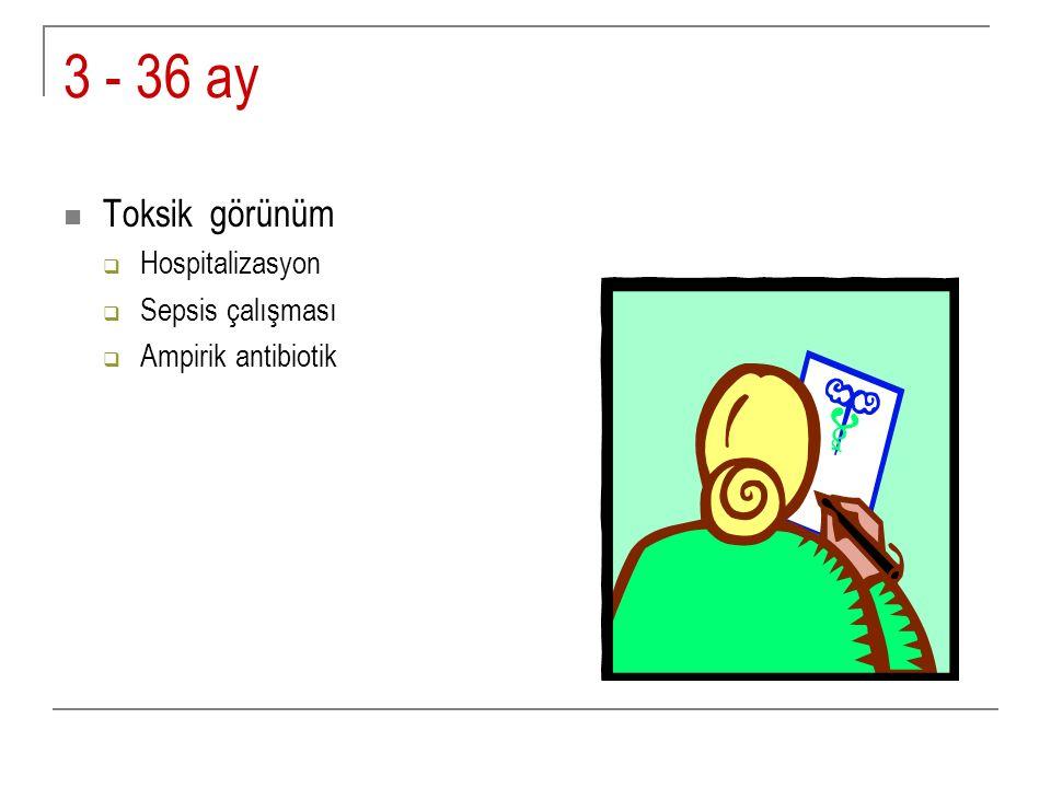 3 - 36 ay Toksik görünüm  Hospitalizasyon  Sepsis çalışması  Ampirik antibiotik