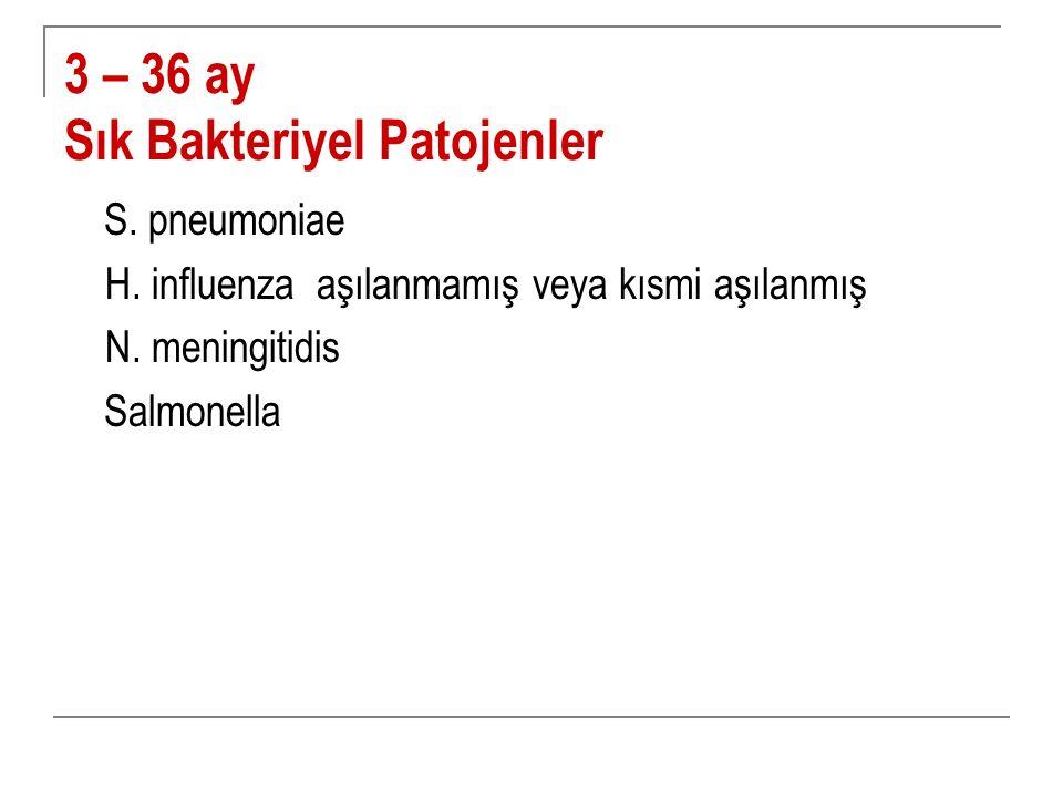 3 – 36 ay Sık Bakteriyel Patojenler S. pneumoniae H. influenza aşılanmamış veya kısmi aşılanmış N. meningitidis Salmonella
