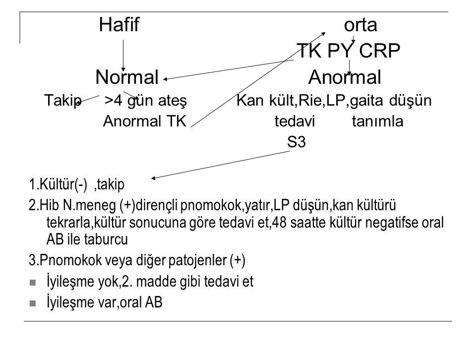 Hafif orta TK PY CRP Normal Anormal Takip >4 gün ateş Kan kült,Rie,LP,gaita düşün Anormal TK tedavi tanımla S3 1.Kültür(-),takip 2.Hib N.meneg (+)dire