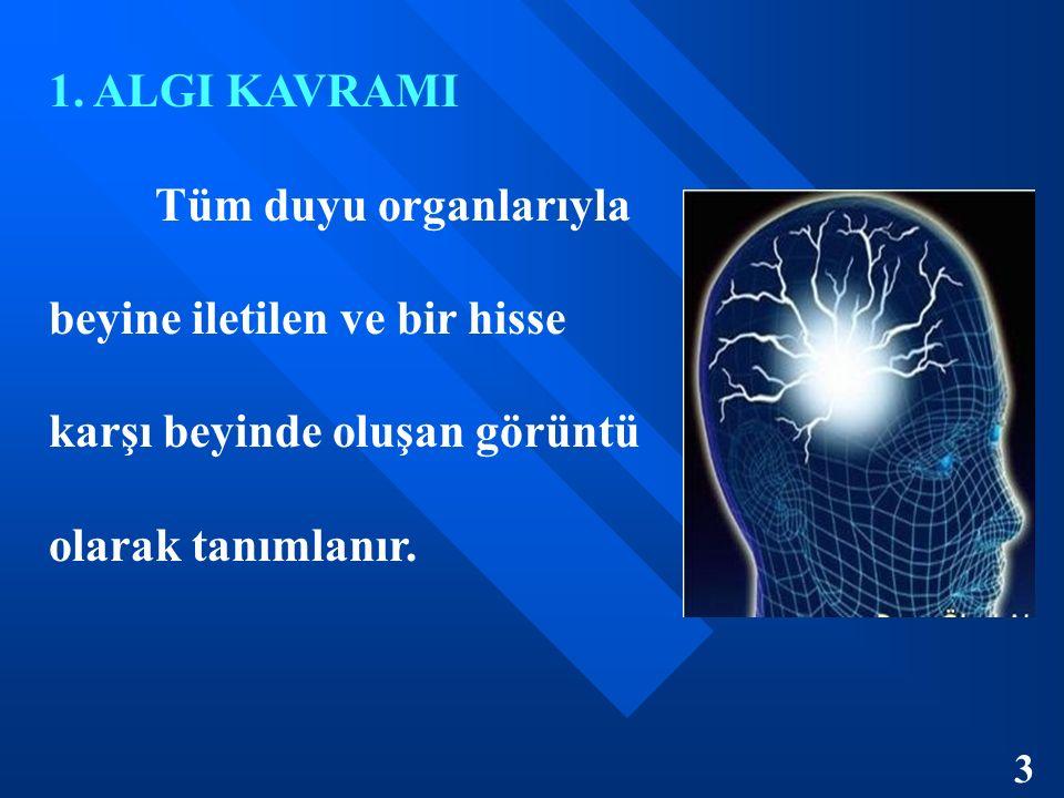 1. ALGI KAVRAMI Tüm duyu organlarıyla beyine iletilen ve bir hisse karşı beyinde oluşan görüntü olarak tanımlanır. 3
