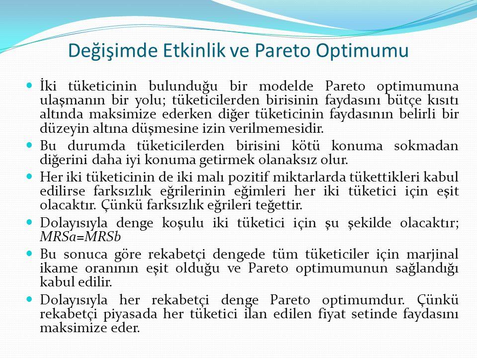 Değişimde Etkinlik ve Pareto Optimumu İki tüketicinin bulunduğu bir modelde Pareto optimumuna ulaşmanın bir yolu; tüketicilerden birisinin faydasını bütçe kısıtı altında maksimize ederken diğer tüketicinin faydasının belirli bir düzeyin altına düşmesine izin verilmemesidir.