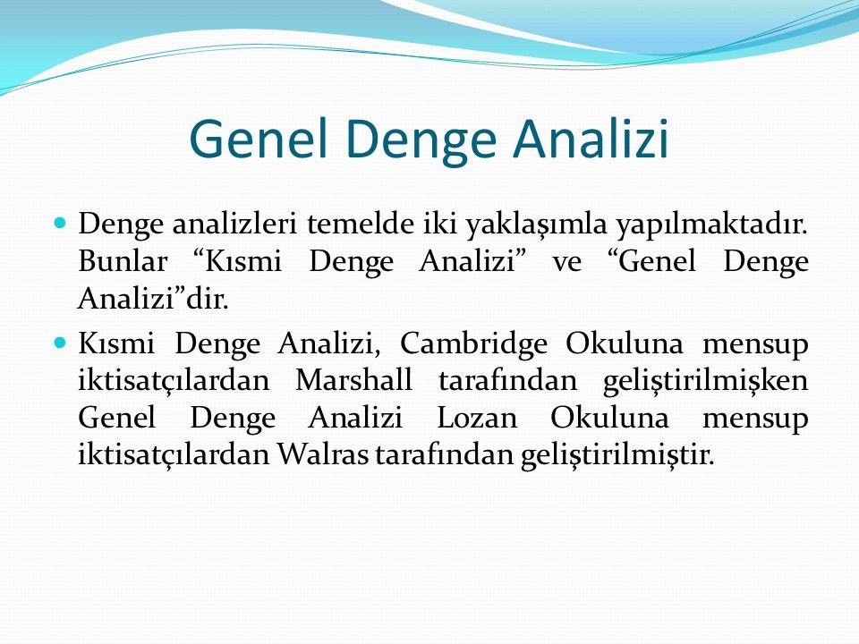 Genel Denge Analizi Denge analizleri temelde iki yaklaşımla yapılmaktadır.