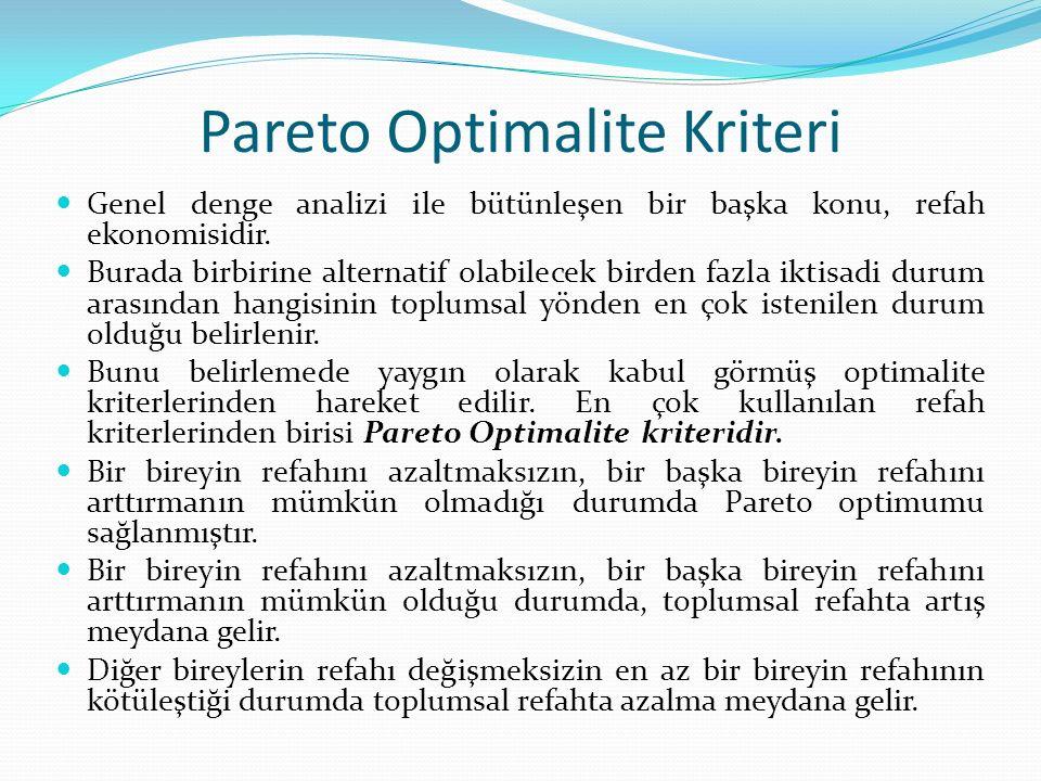 Pareto Optimalite Kriteri Genel denge analizi ile bütünleşen bir başka konu, refah ekonomisidir.