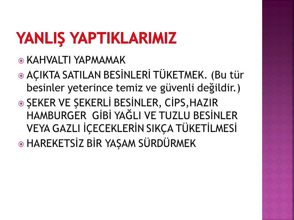  KAHVALTI YAPMAMAK  AÇIKTA SATILAN BESİNLERİ TÜKETMEK.