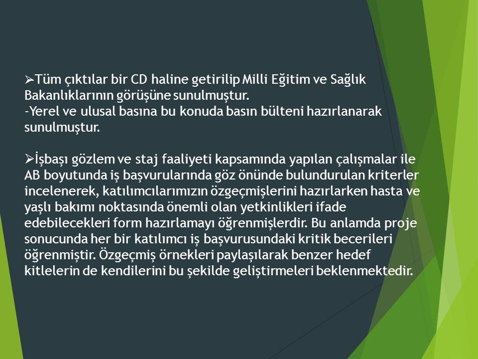  - Tüm çıktılar bir CD haline getirilip Milli Eğitim ve Sağlık Bakanlıklarının görüşüne sunulmuştur. -Yerel ve ulusal basına bu konuda basın bülteni