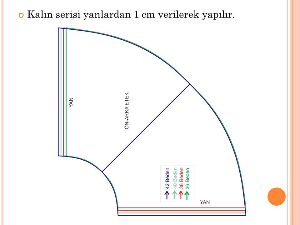 . Kalın serisi yanlardan 1 cm verilerek yapılır.