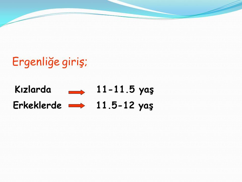 ERGENLİĞİN EVRELERİ -Başlangıç Dönemi kızlarda 13-15 yaş erkeklerde 15-17 yaş -Orta Dönem kızlarda 15-18 yaş erkeklerde 17-19 yaş -Son Dönem kızlarda 18-20 yaş erkeklerde 19-21 yaş