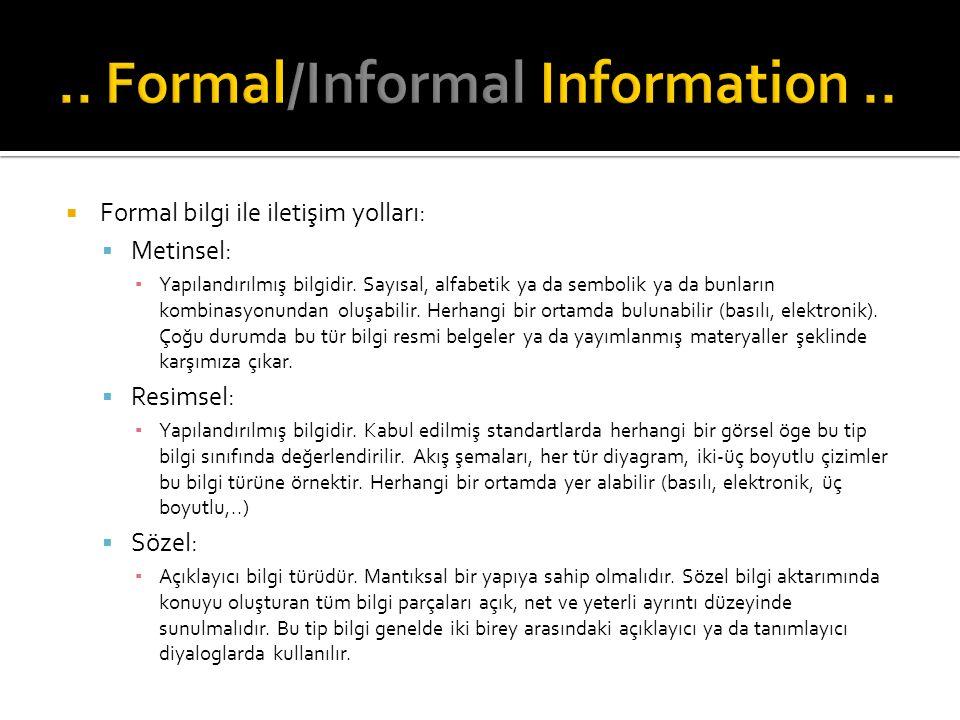  Formal bilgi ile iletişim yolları:  Metinsel: ▪ Yapılandırılmış bilgidir. Sayısal, alfabetik ya da sembolik ya da bunların kombinasyonundan oluşabi