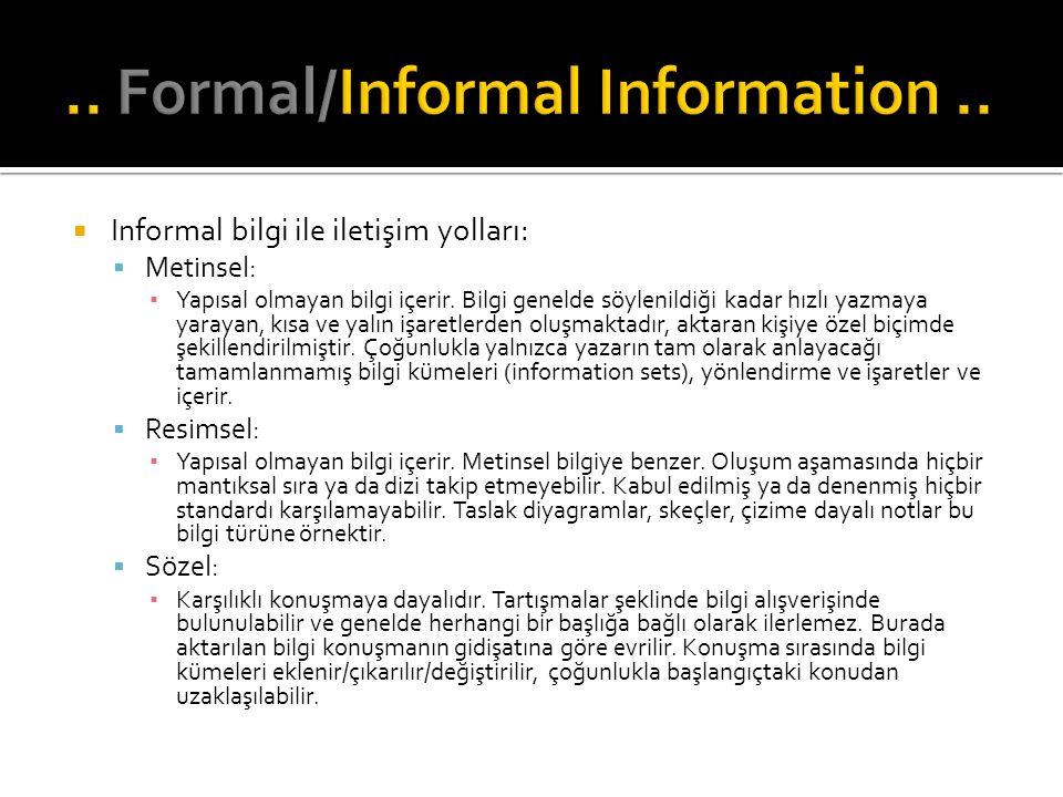  Informal bilgi ile iletişim yolları:  Metinsel: ▪ Yapısal olmayan bilgi içerir. Bilgi genelde söylenildiği kadar hızlı yazmaya yarayan, kısa ve yal