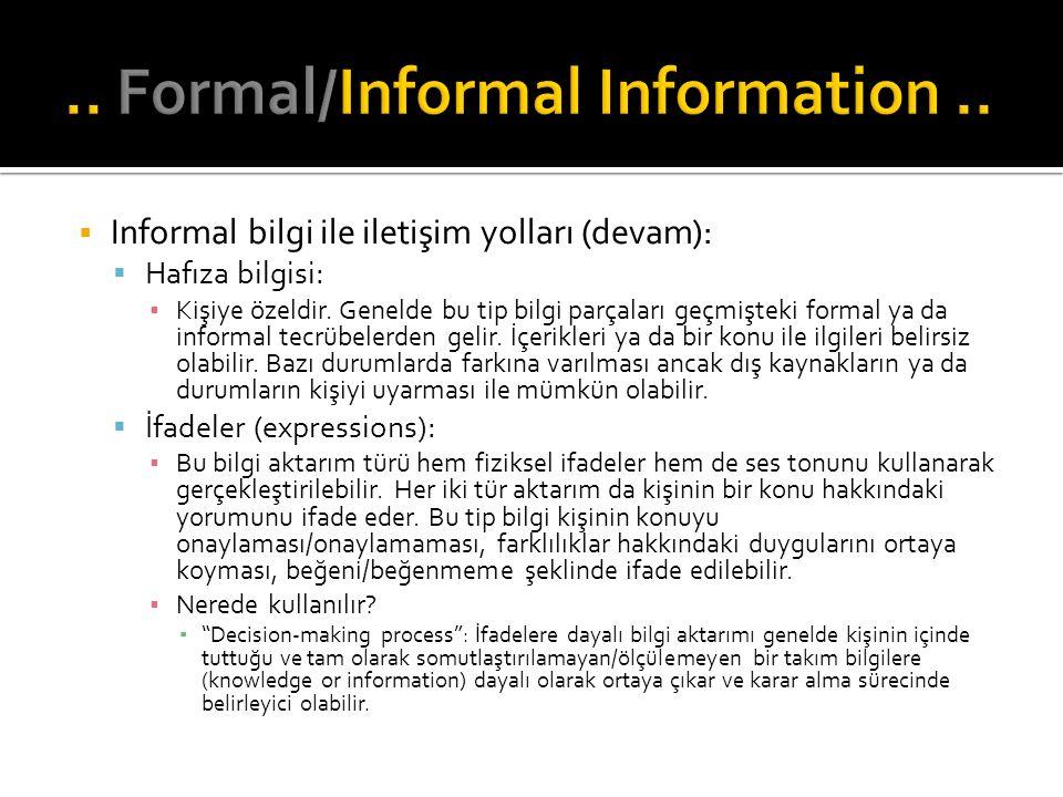  Informal bilgi ile iletişim yolları (devam):  Hafıza bilgisi: ▪ Kişiye özeldir. Genelde bu tip bilgi parçaları geçmişteki formal ya da informal tec