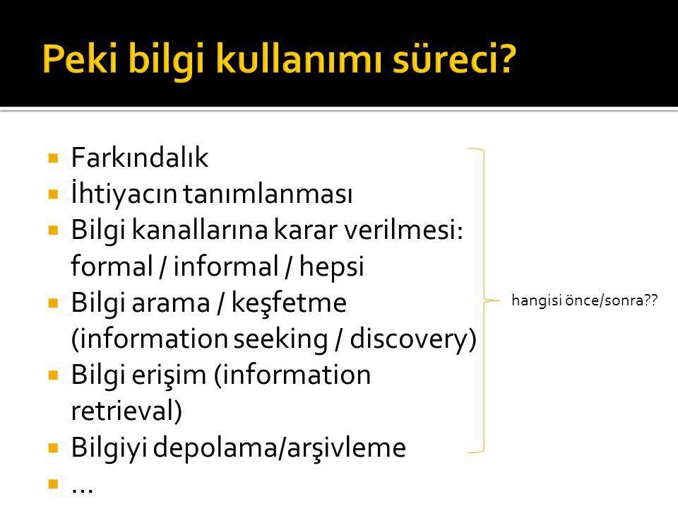  Farkındalık  İhtiyacın tanımlanması  Bilgi kanallarına karar verilmesi: formal / informal / hepsi  Bilgi arama / keşfetme (information seeking /