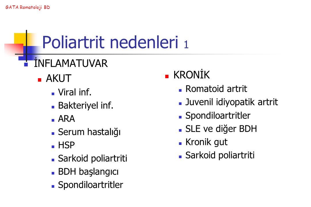 GATA Romatoloji BD Poliartrit nedenleri 1 İNFLAMATUVAR AKUT Viral inf. Bakteriyel inf. ARA Serum hastalığı HSP Sarkoid poliartriti BDH başlangıcı Spon