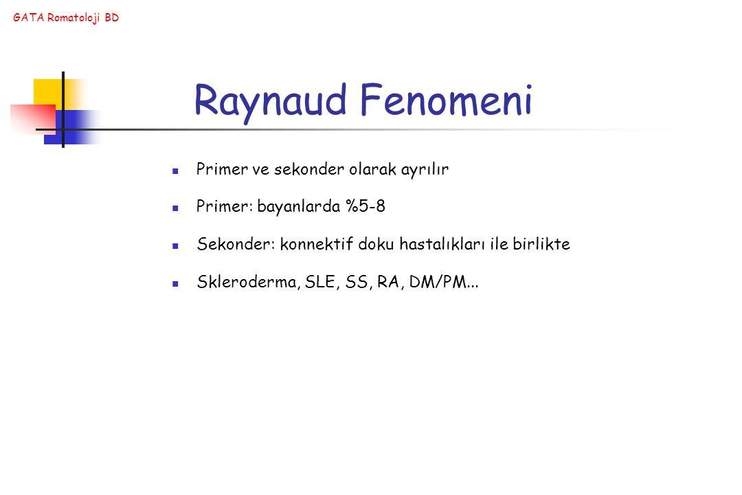 GATA Romatoloji BD Raynaud Fenomeni Primer ve sekonder olarak ayrılır Primer: bayanlarda %5-8 Sekonder: konnektif doku hastalıkları ile birlikte Skler