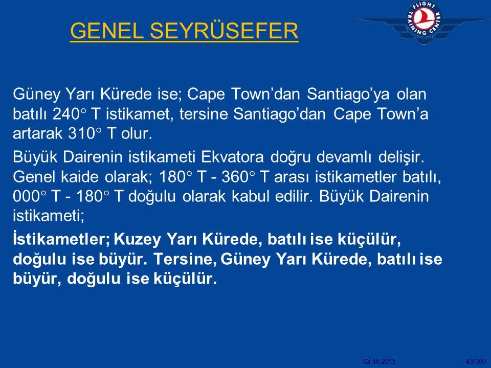 02.10.201543/300 GENEL SEYRÜSEFER Güney Yarı Kürede ise; Cape Town'dan Santiago'ya olan batılı 240  T istikamet, tersine Santiago'dan Cape Town'a artarak 310  T olur.