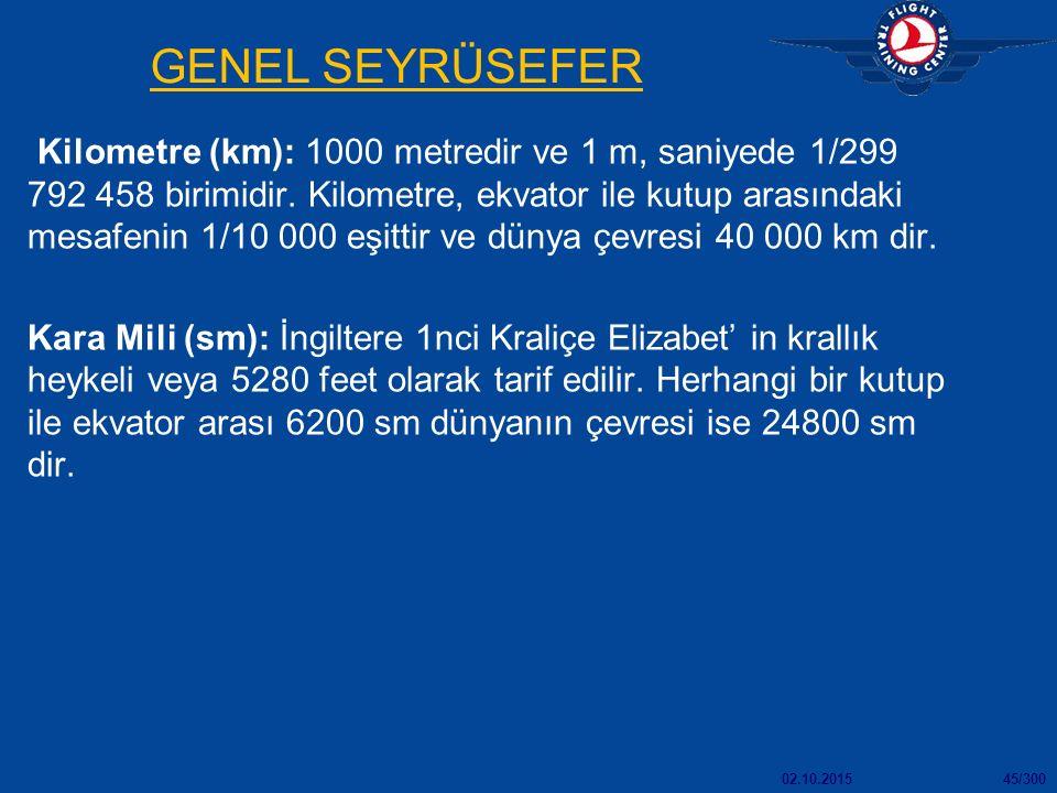 02.10.201545/300 GENEL SEYRÜSEFER Kilometre (km): 1000 metredir ve 1 m, saniyede 1/299 792 458 birimidir. Kilometre, ekvator ile kutup arasındaki mesa