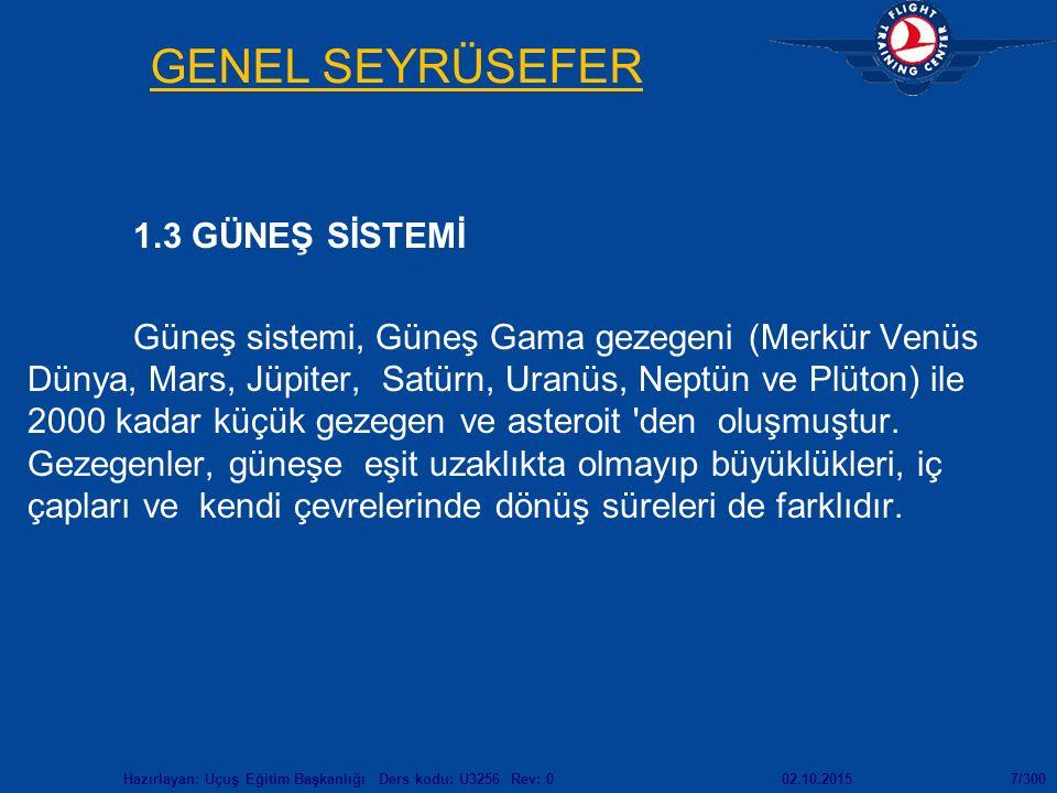 02.10.2015Hazırlayan: Uçuş Eğitim Başkanlığı Ders kodu: U3256 Rev: 07/300 GENEL SEYRÜSEFER 1.3 GÜNEŞ SİSTEMİ Güneş sistemi, Güneş Gama gezegeni (Merkür Venüs Dünya, Mars, Jüpiter, Satürn, Uranüs, Neptün ve Plüton) ile 2000 kadar küçük gezegen ve asteroit den oluşmuştur.