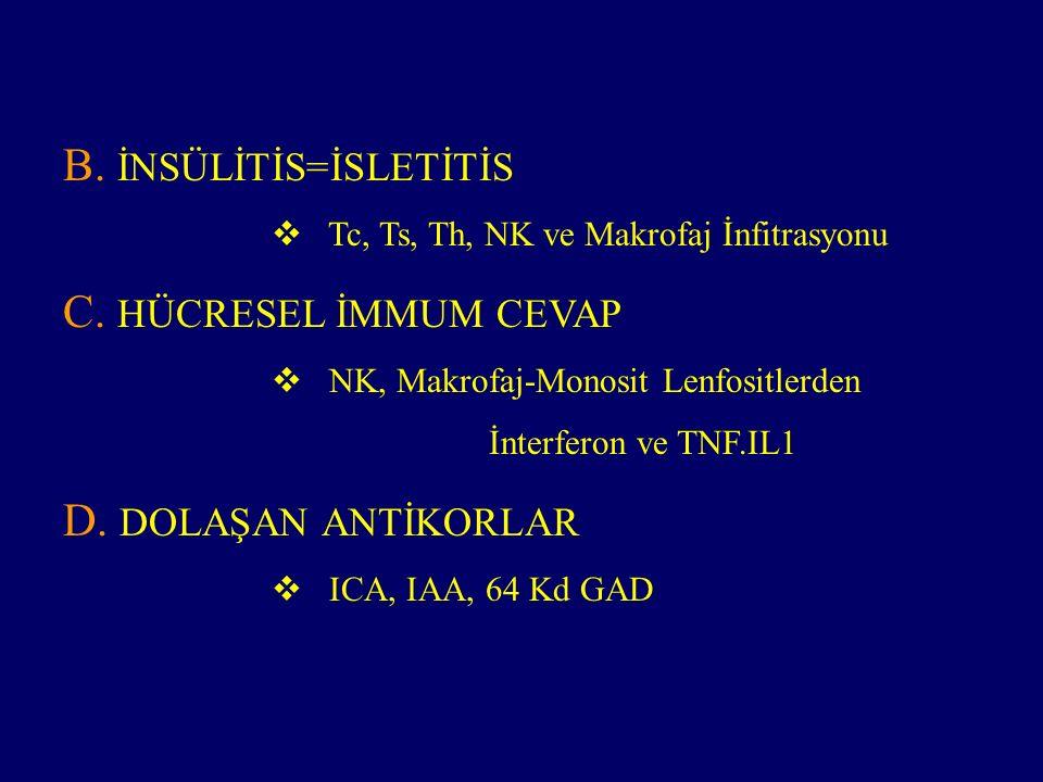 HLA sistem ilişkisi  DR3/DR4 IDDM' de %40, kontrol %3  HLA DR2 koruyucu  B 57 aspartik asit koruyucu